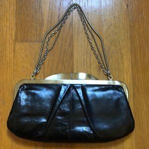 Black Leather Hobo Clutch W/Optional Metal Chain